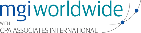 MGI World MGI Worldwide logo 2015 with crossing grey arcs and blue dots